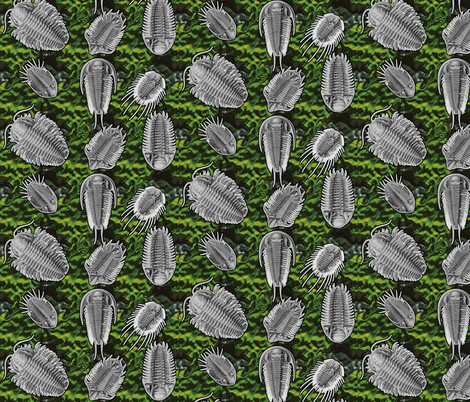 trilobites green2 fabric by craftyscientists on Spoonflower - custom fabric