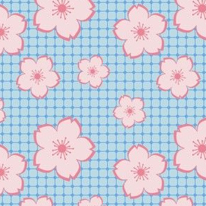 Sakura - pink on blue checker
