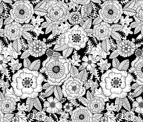 florals - coloring book fabric by kristinnohe on Spoonflower - custom fabric