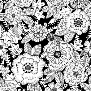 florals - coloring book