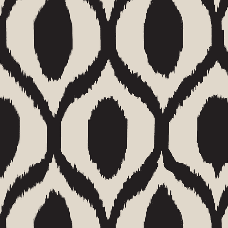 uzebeki ikat black and tan fabric by lisakling on Spoonflower - custom fabric