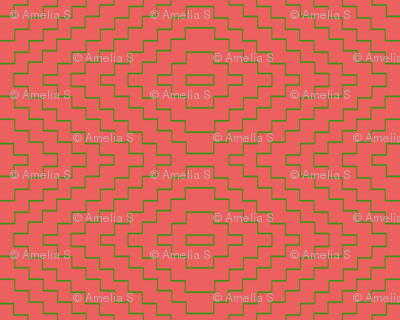 Aztec in Bright Coral and Green