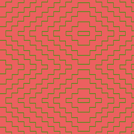 Aztec in Bright Coral and Green fabric by willowlanetextiles on Spoonflower - custom fabric