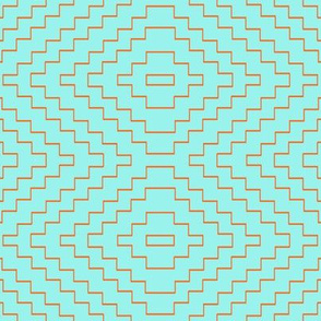 Aztec in Tangerine and Mint