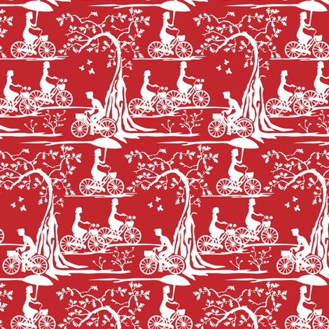 Year of the Bicycle - white on red fabric by ebygomm on Spoonflower - custom fabric