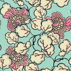 Shabby Chic Block Print Floral