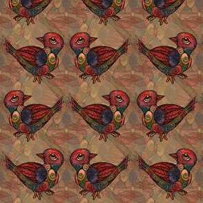 Birds - Layered, Light Brown Pattern
