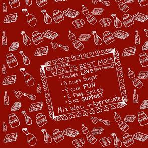 World's Best Mom Recip (Red&White)-Tea Towel