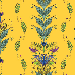 The-Vine floral on yellow