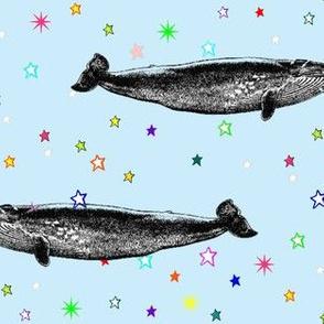 Vintage Star Whale, Rainbow Stars on Baby Blue