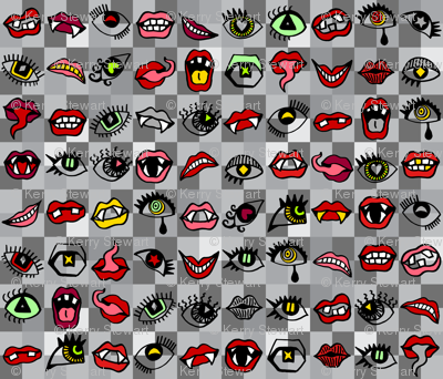 Creepy Eyes and Mouths Grey Multi