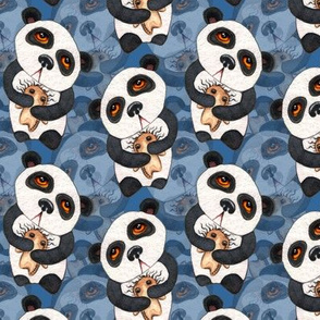 Pandas - Layered on Blue