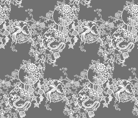 Pieces of China - Cascades on grey fabric by ladykerry on Spoonflower - custom fabric