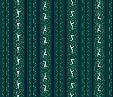 Holly and Greyhounds, green stripes fabric by artbyjanewalker on Spoonflower - custom fabric