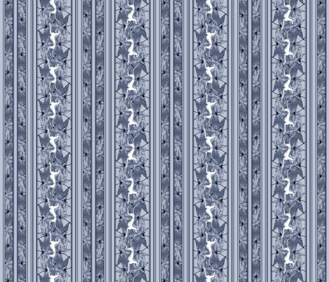 Leaves and Greyhounds, grey fabric by artbyjanewalker on Spoonflower - custom fabric