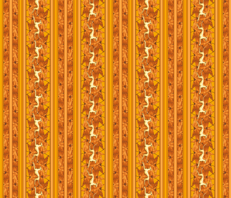 Leaves and Greyhounds, orange fabric by artbyjanewalker on Spoonflower - custom fabric