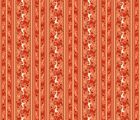 Leaves and Greyhounds, Red fabric by artbyjanewalker on Spoonflower - custom fabric