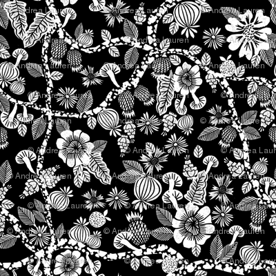linocut florals // black and white floral print linocut stamps andrea lauren fabric andrea lauren design