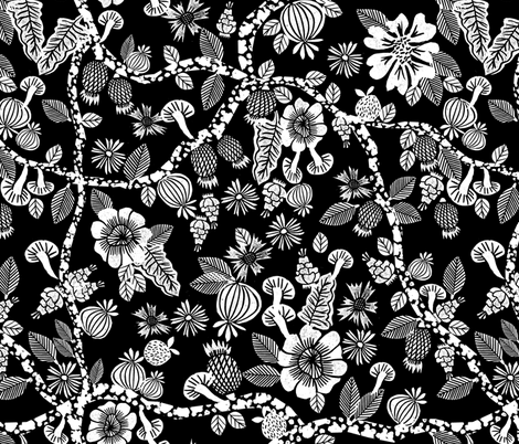 linocut florals // black and white floral print linocut stamps andrea lauren fabric andrea lauren design fabric by andrea_lauren on Spoonflower - custom fabric