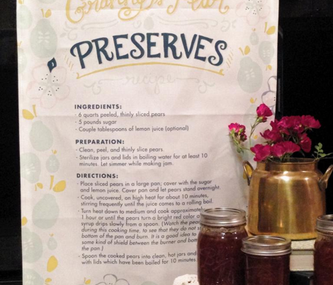 Granny's Pear Preserves Tea Towel