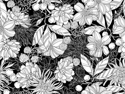 Garden at Twilight Black and White