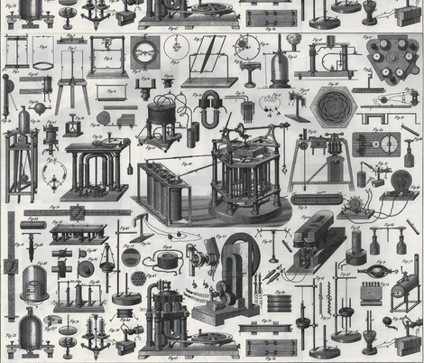 current/magnetism illistrations white fabric by craftyscientists on Spoonflower - custom fabric