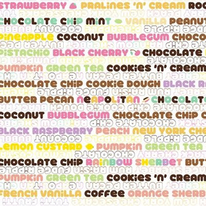 32 Flavors || ice cream scoop cone sweet dessert typography pastel rainbow summer stripes text kids children baby nursery