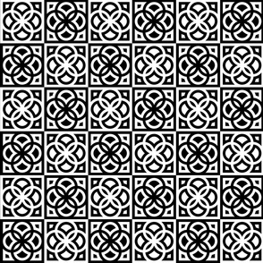 Flowers in squares (black and white)