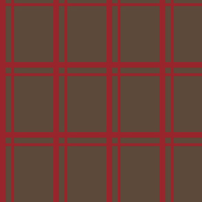 Plaid-Stripes in Red on Brown
