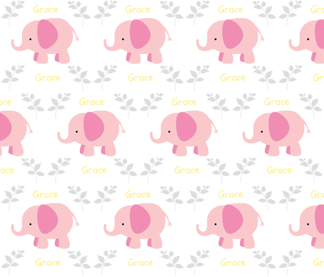 Elephants in A Row - Pink/Gray/Yellow  personalized GRACE fabric by drapestudio on Spoonflower - custom fabric