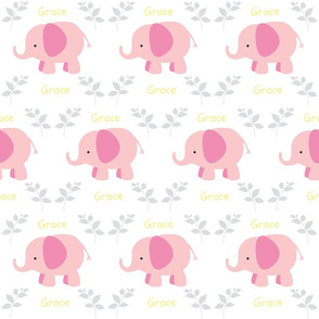 Elephants in A Row - Pink/Gray/Yellow  personalized GRACE