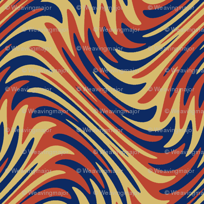 art nouveau feather swirl in red, gold and blue