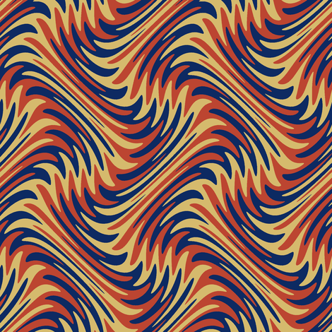 art nouveau feather swirl in red, gold and blue fabric by weavingmajor on Spoonflower - custom fabric