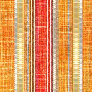 Faux Linen stripe Sundown orange