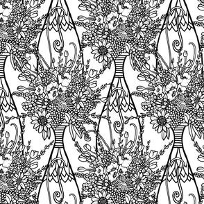 Vases of Flowers - black and white