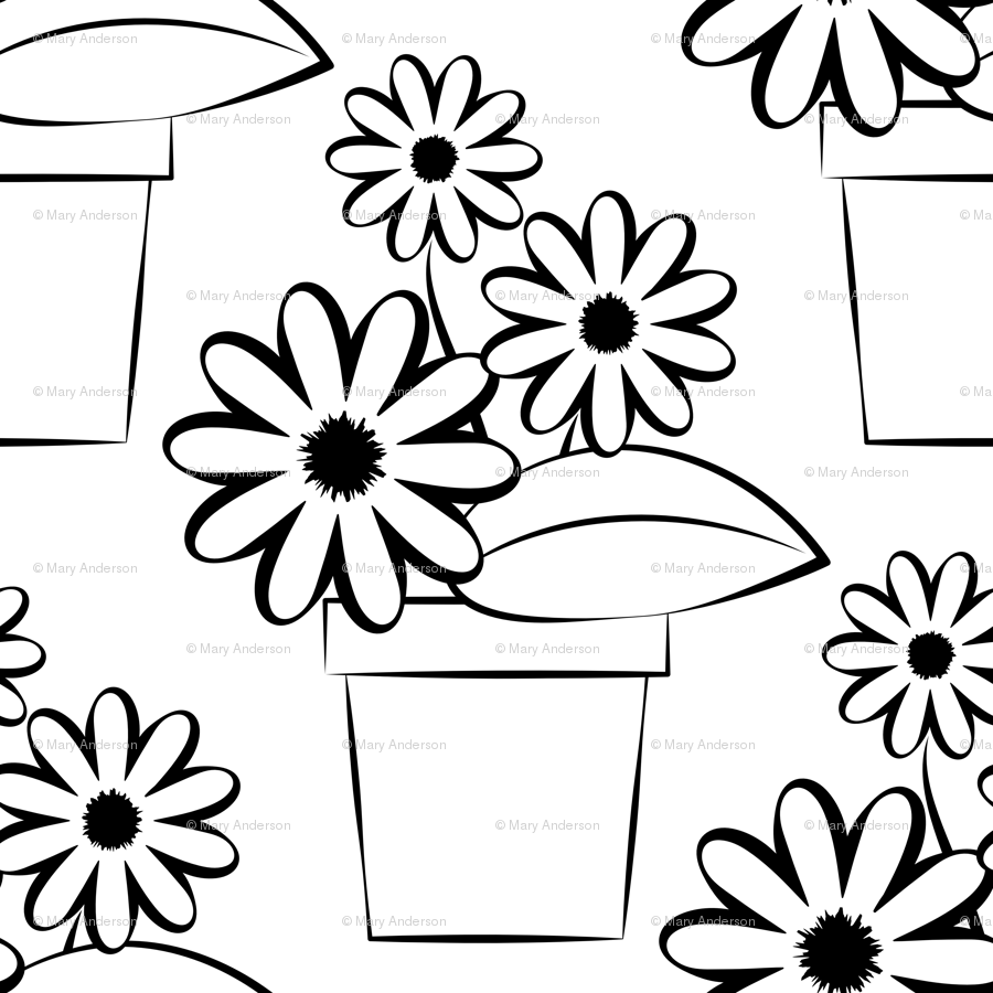 Flower Pots To Color Giftwrap Andersondesigns Spoonflower