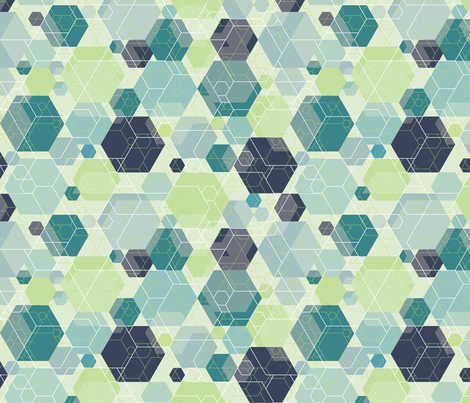 Hexagon melange, blue-green fabric by linkolisa on Spoonflower - custom fabric