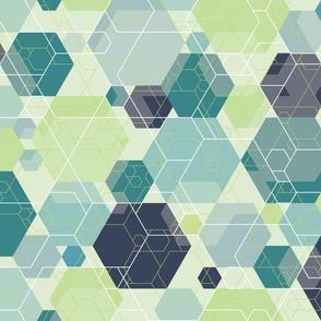 Hexagon melange, blue-green