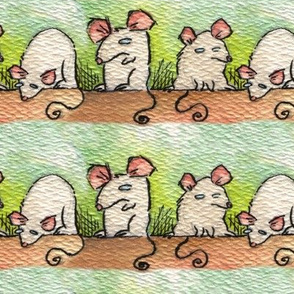 Artwork - White Mice in Rows
