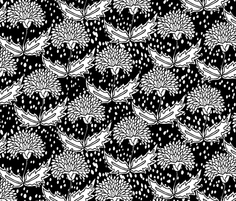 Black & White Floral fabric by pond_ripple on Spoonflower - custom fabric