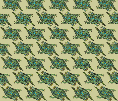Artwork - Menagerie Lizards - Green on Khaki  fabric by lierre on Spoonflower - custom fabric