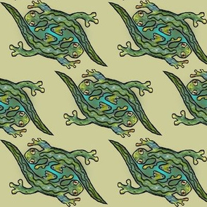 Artwork - Menagerie Lizards - Green on Khaki