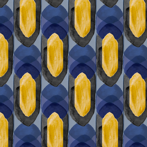 Watercolor Spire in Gold Navy fabric by emilysanford on Spoonflower - custom fabric
