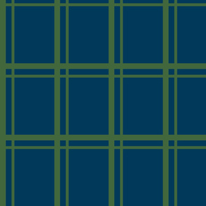 Plaid-Stripes in Green on Blue