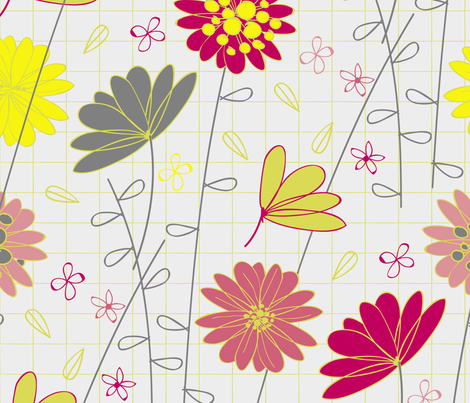 floral_grid_pattern_color-01 fabric by jenflorentine on Spoonflower - custom fabric