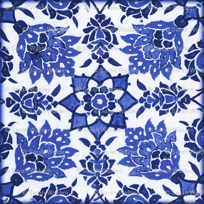 The Lata Tile ~ Blue and White