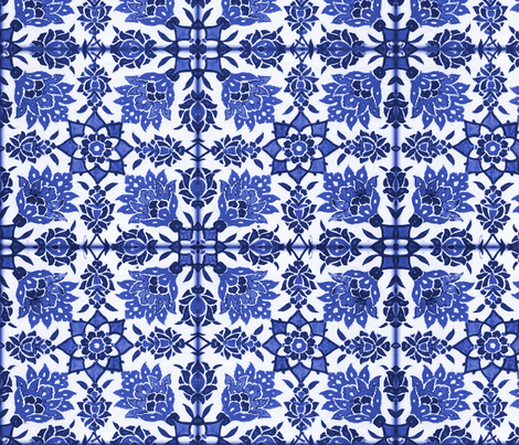 The Lata Tile ~ Blue and White fabric by peacoquettedesigns on Spoonflower - custom fabric