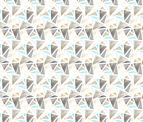 Geo Watercolor in Blue MINI fabric by emilysanford on Spoonflower - custom fabric