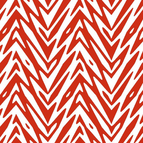 feather zigzag in red and white