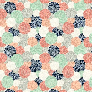 roses in coral navy and mint